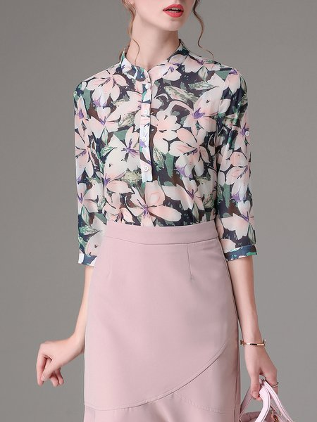 3/4 Sleeve Floral-print Stand Collar Casual Blouse