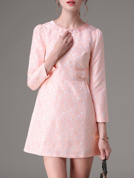 Pink Crew Neck Jacquard Girly Mini Dress