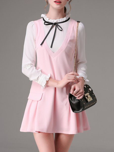 Pink Stand Collar Long Sleeve A-line Ruffled Mini Dress