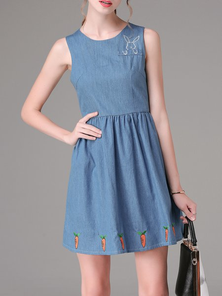 Blue Casual Crew Neck Denim A-line Mini Dress