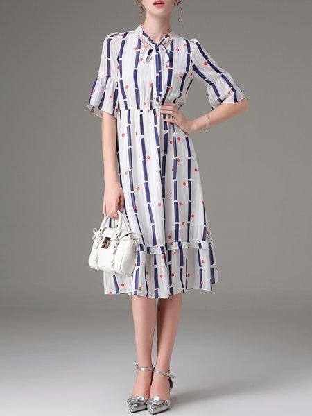 White A-line Casual Polka Dots Printed Midi Dress