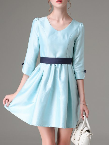 V Neck Girly Color-block 3/4 Sleeve Mini Dress