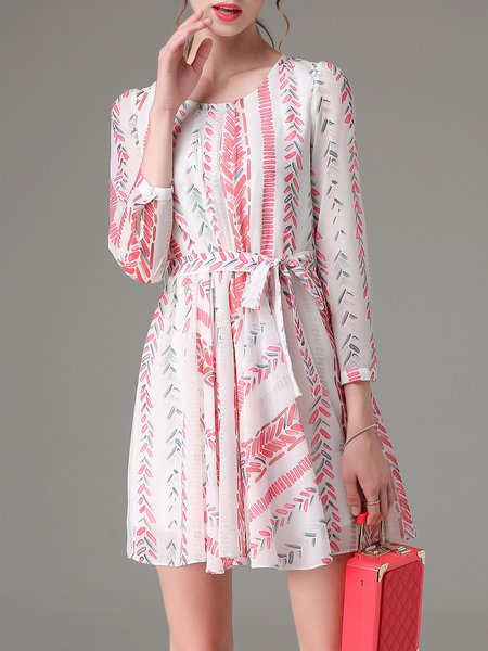 Multicolor Casual Printed A-line Mini Dress