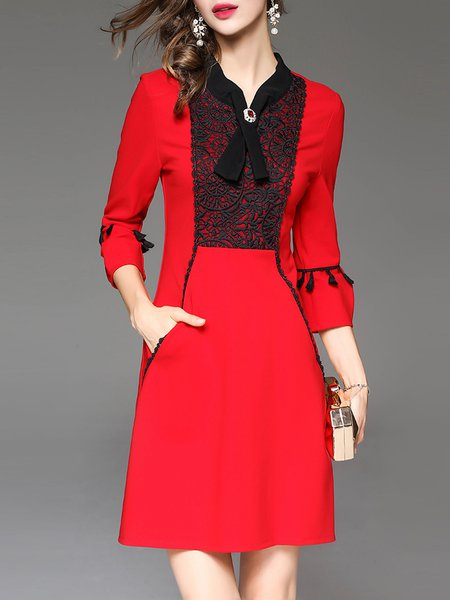 Red 3/4 Sleeve A-line Geometric Stand Collar Embroidered Mini Dress
