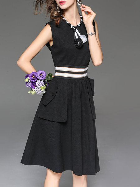 Sleeveless A-line Pockets Casual Midi Dress