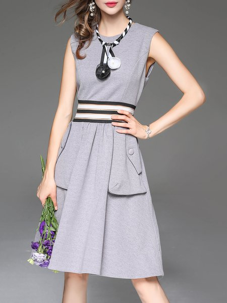 Pockets Simple Polyester Sleeveless Midi Dress