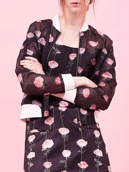 Black Stand Collar Long Sleeve Bomber Floral Print Jacket
