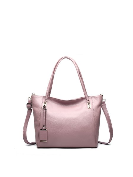 Pink Cowhide Leather Small Casual Shoulder Bag