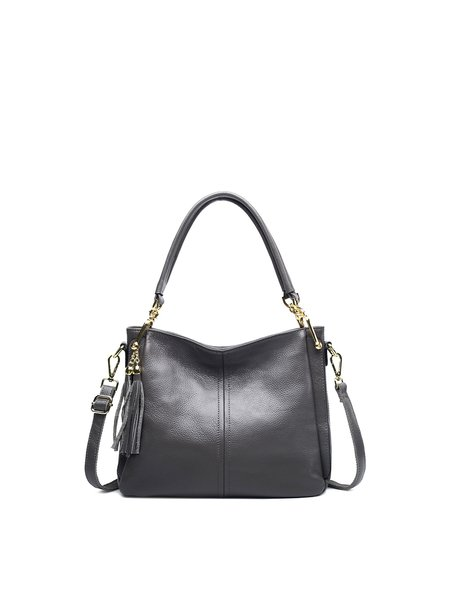 Cowhide Leather Zipper Medium Shoulder Bag