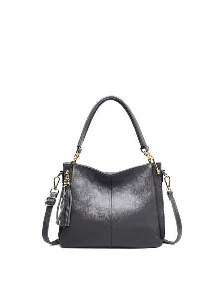 Cowhide Leather Zipper Medium Shoulder Bag