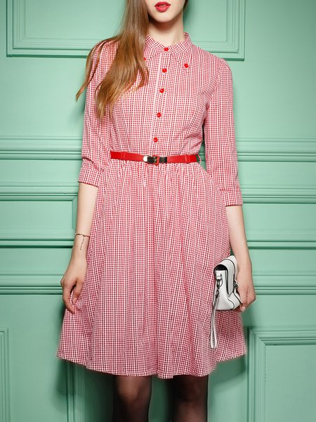 Pink Cotton Buttoned Elegant Shirt Collar Midi Dress With Belt