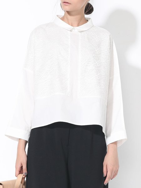 White Long Sleeve Cotton Lace Paneled Plain Blouse