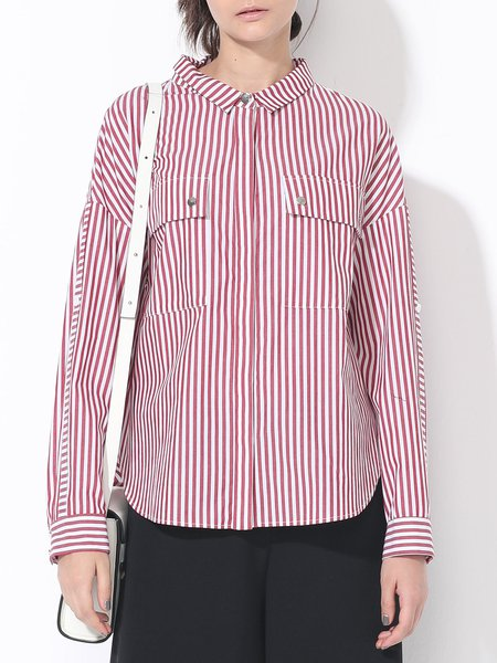 Red Cotton Shirt Collar Casual Buttoned Blouse