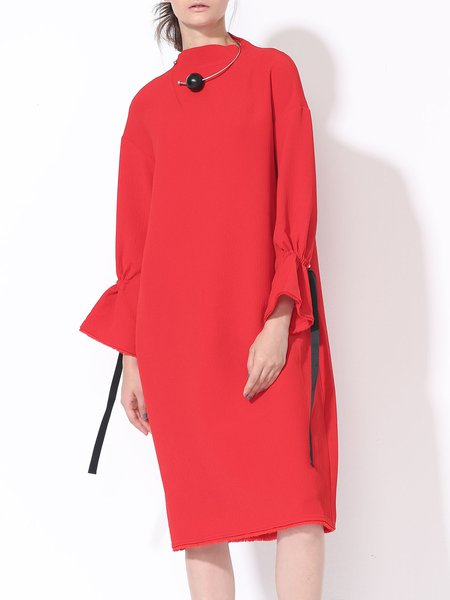 Red Plain Simple Brushed Polyester Midi Dress