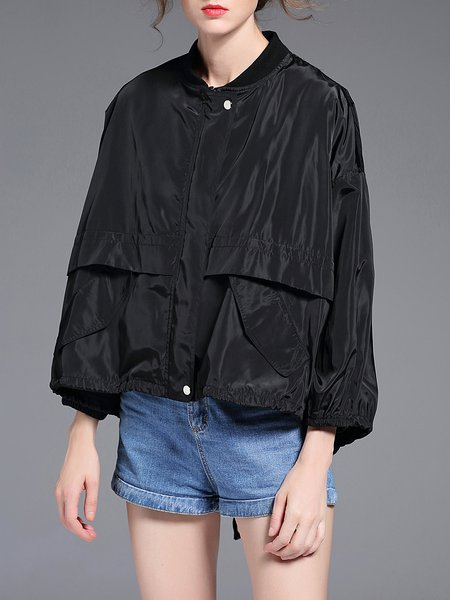 Black Long Sleeve Pockets High Low Bomber Jacket