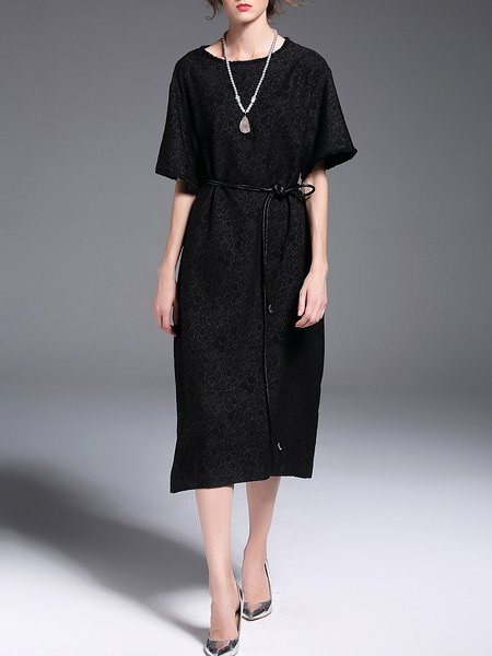 Black Shift Brushed Jacquard Casual Midi Dress With Belt