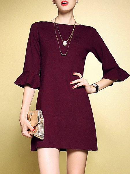 Simple Frill Sleeve Ruffled Mini Dress