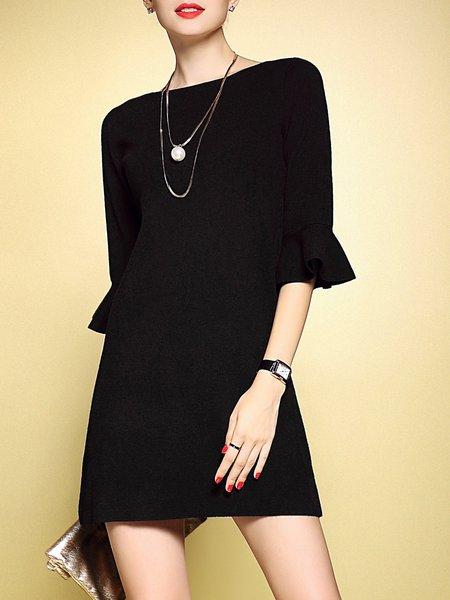 Brown 3/4 Sleeve Ruffled Mini Dress