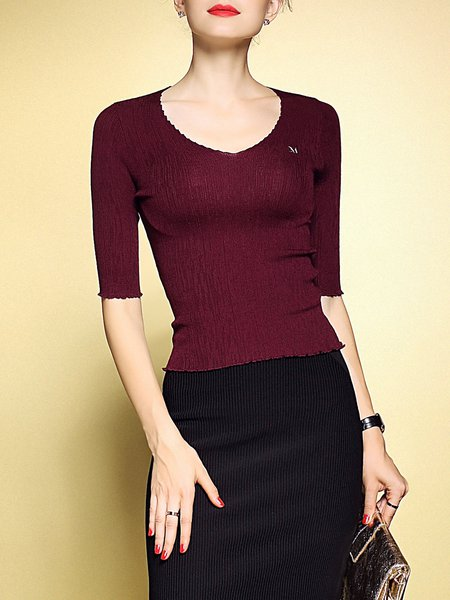 Simple Half Sleeve Knitted Plain Blouse