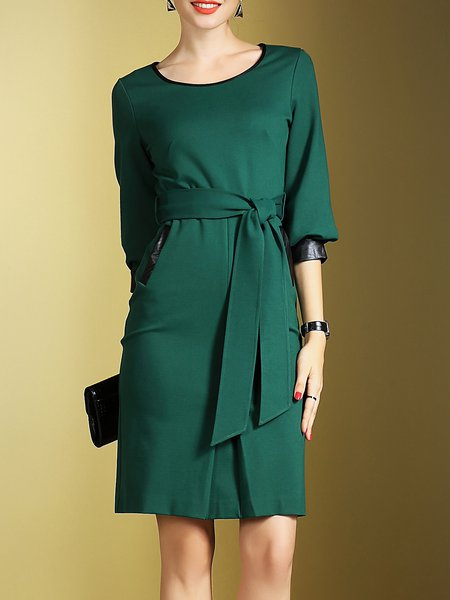 Crew Neck 3/4 Sleeve Viscose PU Paneled Simple Midi Dress