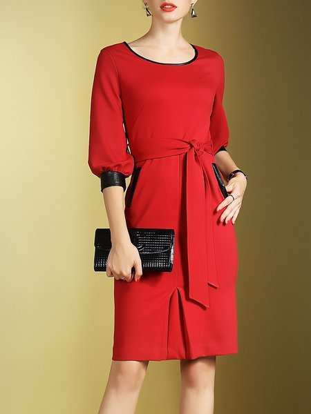 Red PU Paneled A-line Simple Midi Dress