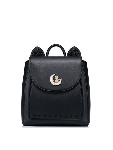 Black PU Fold-over Flat Top Casual Backpack