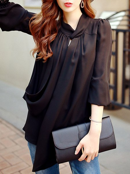 Balck Plain Balloon Sleeve Tied Chiffon Blouse