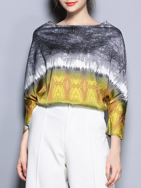 Yellow Geometric Print Casual Blouse