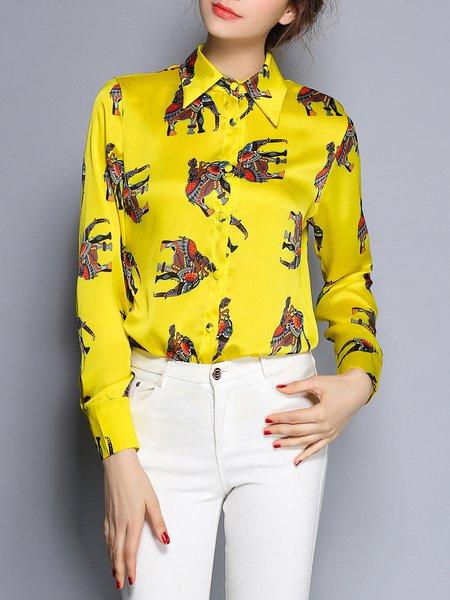 Vintage Printed Shirt Collar H-line Long Sleeve Blouse