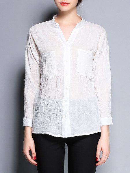 White Cotton Long Sleeve Pockets Plain Blouse