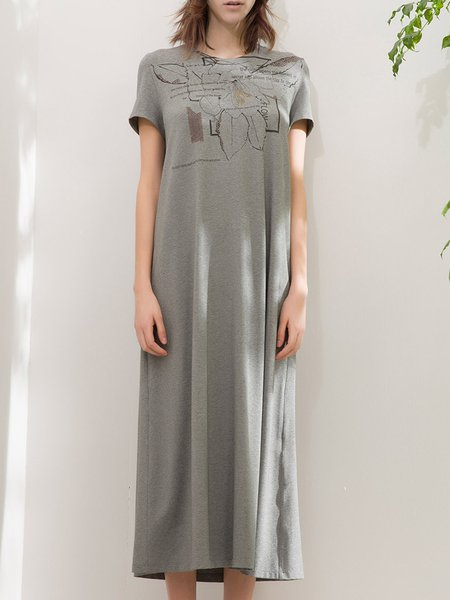 Gray Cotton-blend Short Sleeve Printed Casual Midi Dress