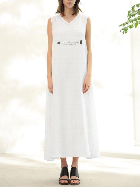White Linen V Neck Sleeveless Midi Dress