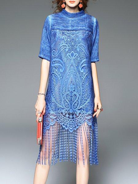 Boho Stand Collar Floral Half Sleeve Midi Dress