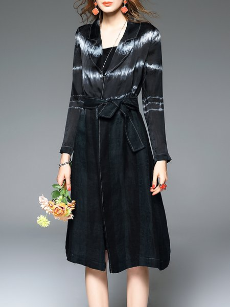 Black Vintage Organza Lapel A-line Coat