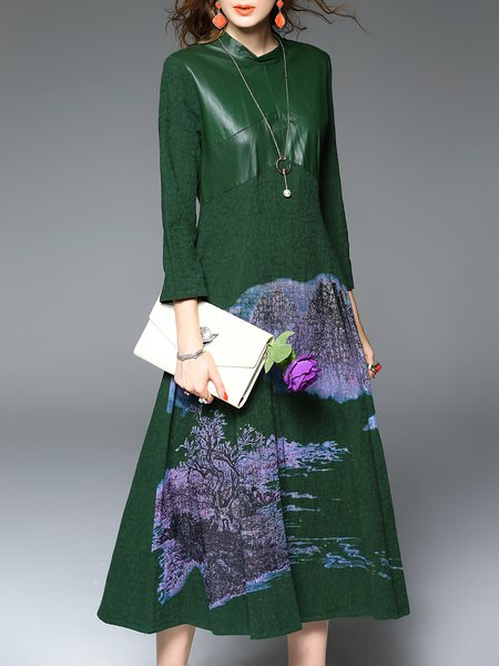 Green Printed A-line 3/4 Sleeve Midi Dress