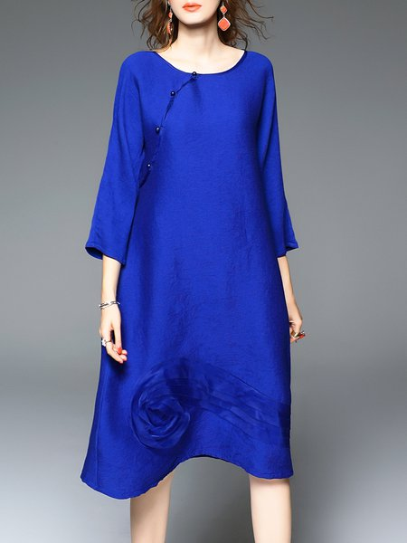 Blue Appliqued Crew Neck Simple Midi Dress