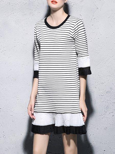 Dark Blue Stripes Paneled Crew Neck Casual Mini Dress