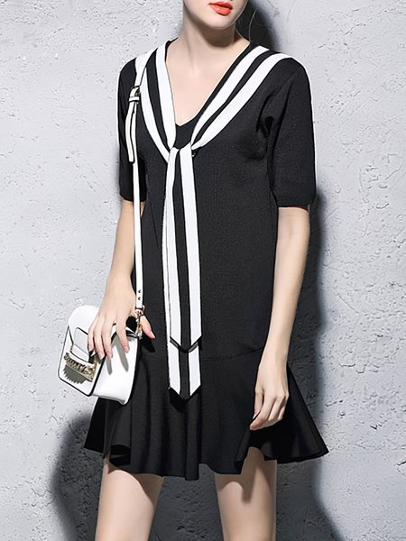 Black Flounce Sailor Collar Paneled Short Sleeve Mini Dress
