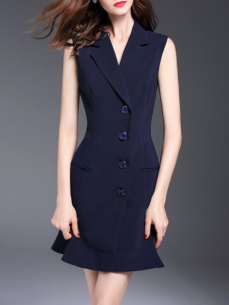 Dark Blue Plain Sleeveless Buttoned Polyester Vest