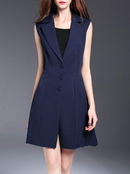 Dark Blue Lapel A-line Paneled Sleeveless Vest
