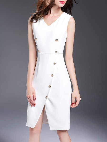 White A-line Simple V Neck Buttoned Midi Dress