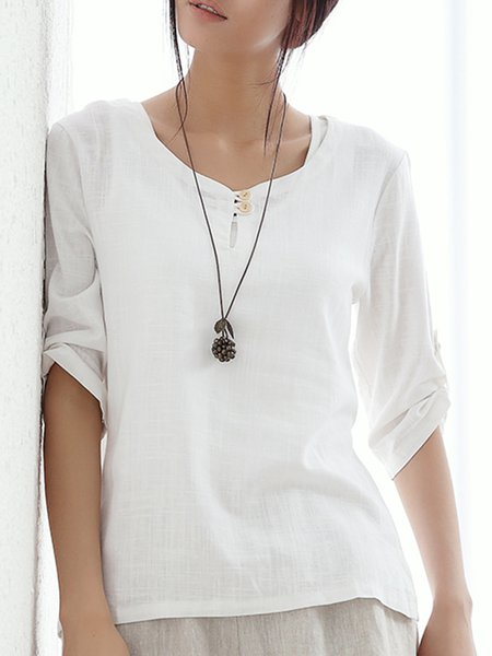 White Gathered Plain Half Sleeve Blouse
