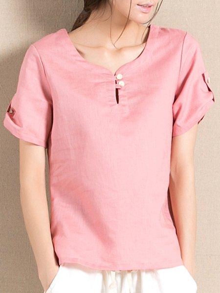 Plain Keyhole Short Sleeve Buttoned T-Shirt