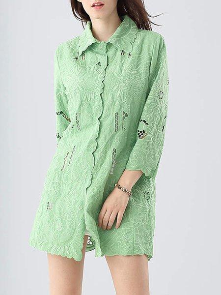 Green Pierced Shirt Collar 3/4 Sleeve Tunic