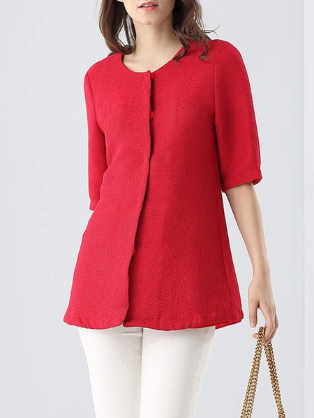 Red Crew Neck Ribbed Silk Casual Blouse