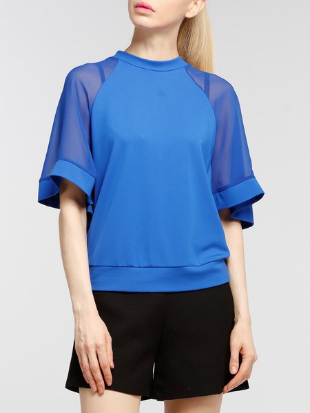 Blue Casual H-line Paneled Mesh Paneled Blouse