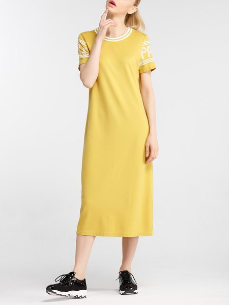 Short Sleeve Crew Neck Casual Midi Dress