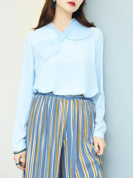 Light Blue Long Sleeve Bow Chiffon Blouse