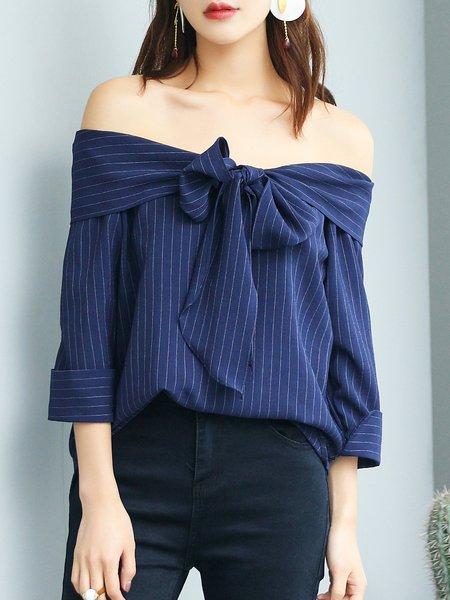 Blue Off Shoulder Stripes Simple Bow Blouse