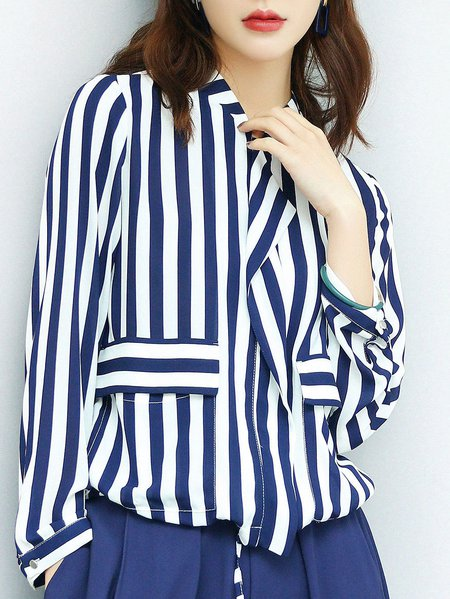 Simple 3/4 Sleeve Stripes Cropped Jacket